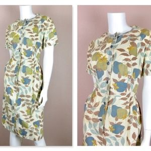 Vintage 1940s Cotton Summer Day Dress, Sz L